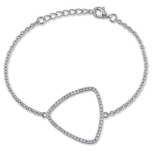 "1.02 CT. T.W. Cubic Zirconia Geometric Bracelet in Sterling Silver - 7"" - White - image 1 of 1"