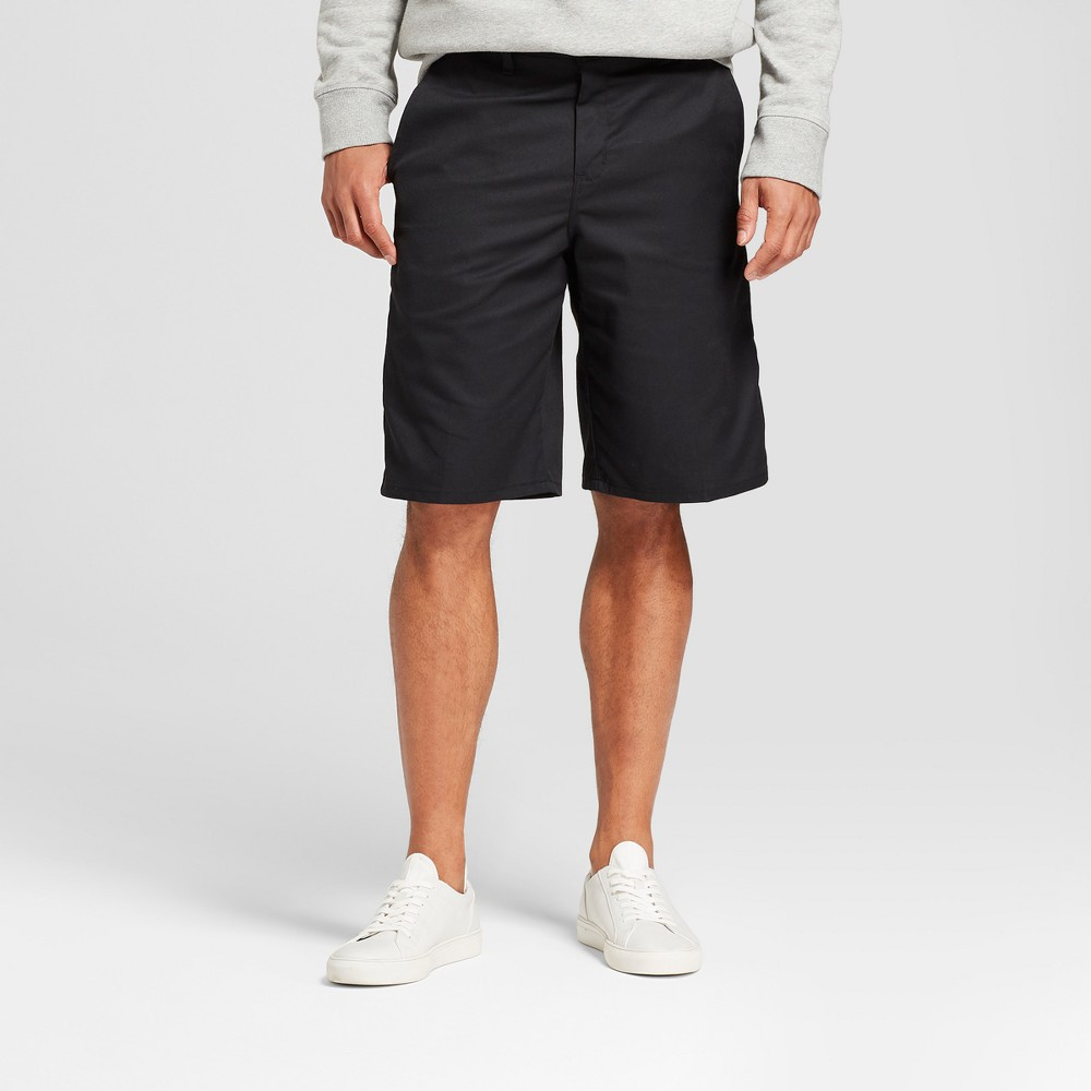 Dickies Men S 11 Solid Flat Front Shorts With Cell Pocket Black 38