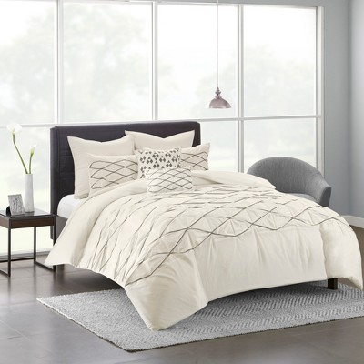 White Carlisle 100% Cotton Solid Pieced Comforter Set (King/ CA King)7pcs