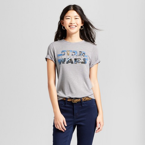 "Women's Short Sleeve Star Wars ""The Last Jedi"" Graphic T-Shirt (Juniors') - Gray - image 1 of 2"