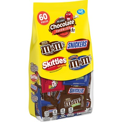 Mars Mixed Chocolate Fruity Confection Fun Size Candy Bars Variety Pack - 32.98oz / 60ct