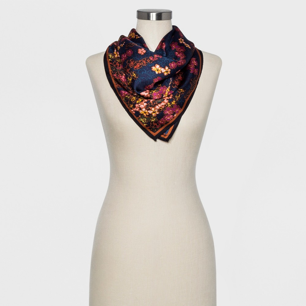 Women's Floral Print 10mm Silk Twill Square Scarf - A New Day Navy (Blue)