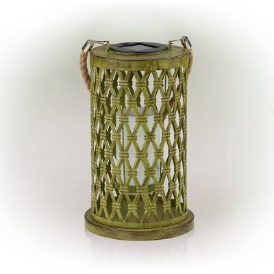 "Alpine 10"" Solar Diamond Weave Metal Lantern with Flickering Light Green/Brown"