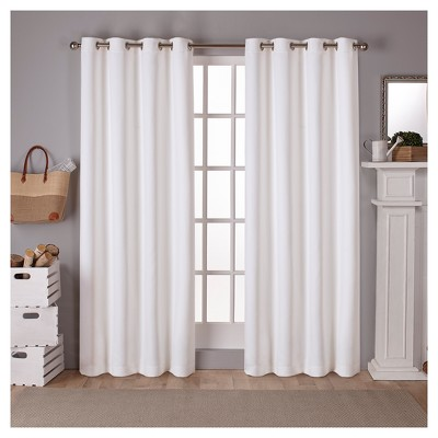 "Set of 2 108""x52"" Sateen Twill Weave Insulated Blackout Grommet Top Window Curtain Panels White Solid - Exclusive Home"