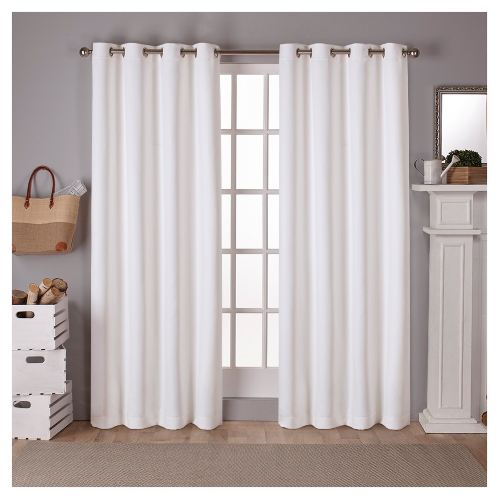 Set of 2 Sateen Twill Weave Insulated Blackout Grommet Top Window Curtain Panels White Solid (52