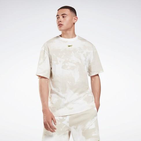 Reebok Mens Regular Fit Short Sleeve Crew Athletic T-shirt - Beige Large