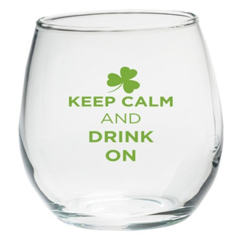 4ct Kate Aspen St Patrick's Day Keep Calm And Drink On Stemless Wine Glass - image 1 of 1