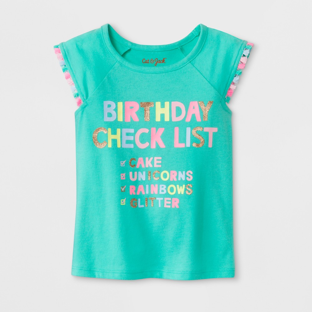 Toddler Girls' Birthday Checklist Cap Sleeve T-Shirt - Cat & Jack Green 18M