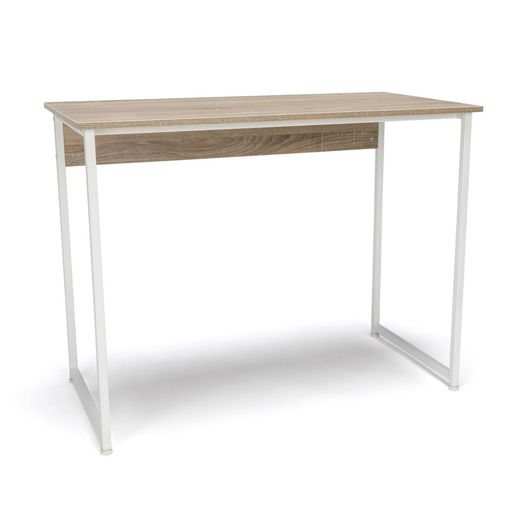 Computer Desk And Workstation With Metal Legs Walnut Gray Ofm