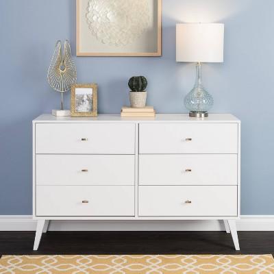 Mid Century Modern 6 Drawer Dresser White - Prepac