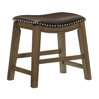 Homelegance 18-Inch Dining Height Wooden Bar Stool with Solid Wood Legs and Faux Leather Saddle Seat Kitchen Barstool Dinning Chair, Brown