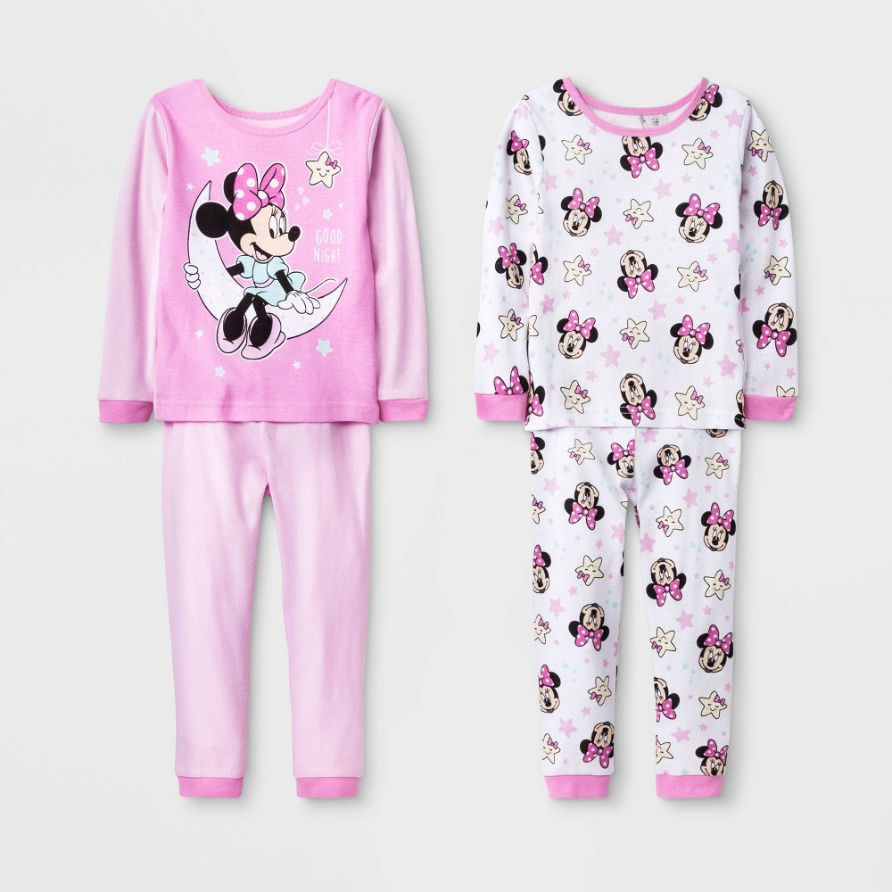 Image of Baby Girls' 4pc Minnie Mouse Pajama Set - Pink 18M, Girl's