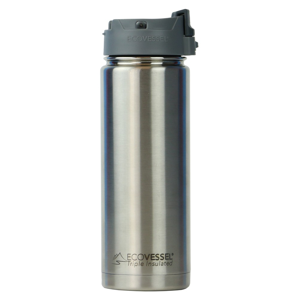 EcoVessel Perk 20oz (600ml) TriMax Triple Insulated BPA Free Bottle with Push-Button Flip Lid - Silver