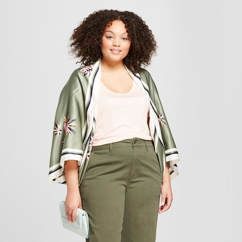 27def914fb0 Women s Plus Size Floral Print Cocoon Kimono Jackets - A New Day™ Green