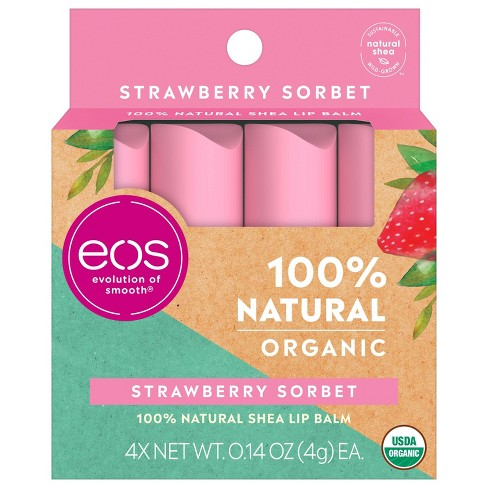 eos Natural Organic Lip Balm Sticks - Strawberry - 4pk - image 1 of 4