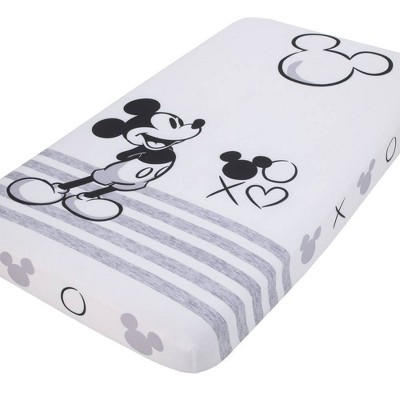 Disney Mickey Mouse and Black Photo Op Fitted Crib Sheet - Gray/Ivory