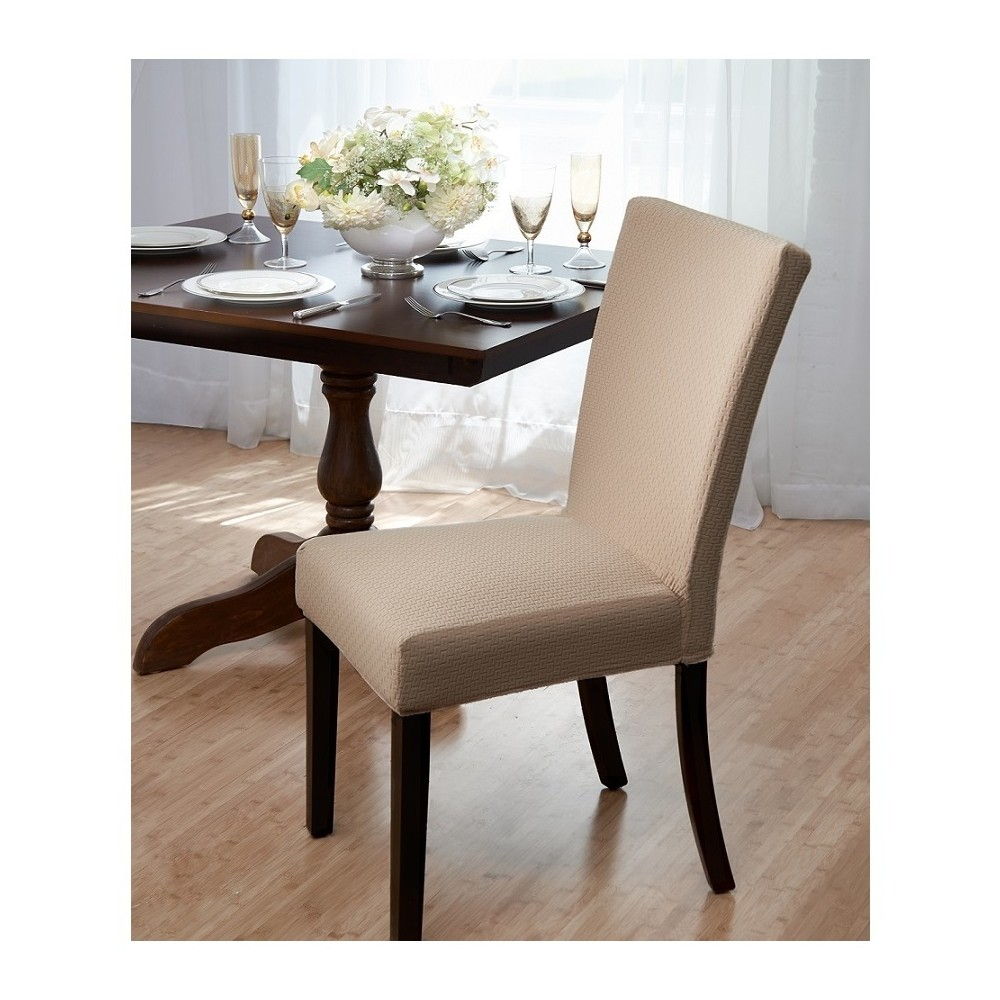 Image of Beige Subway Dining Room Chair Cover - Madison