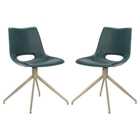 Set Of 2 Danube Midcentury Modern Leather Swivel Dining Chair Blue Br Safavieh Target