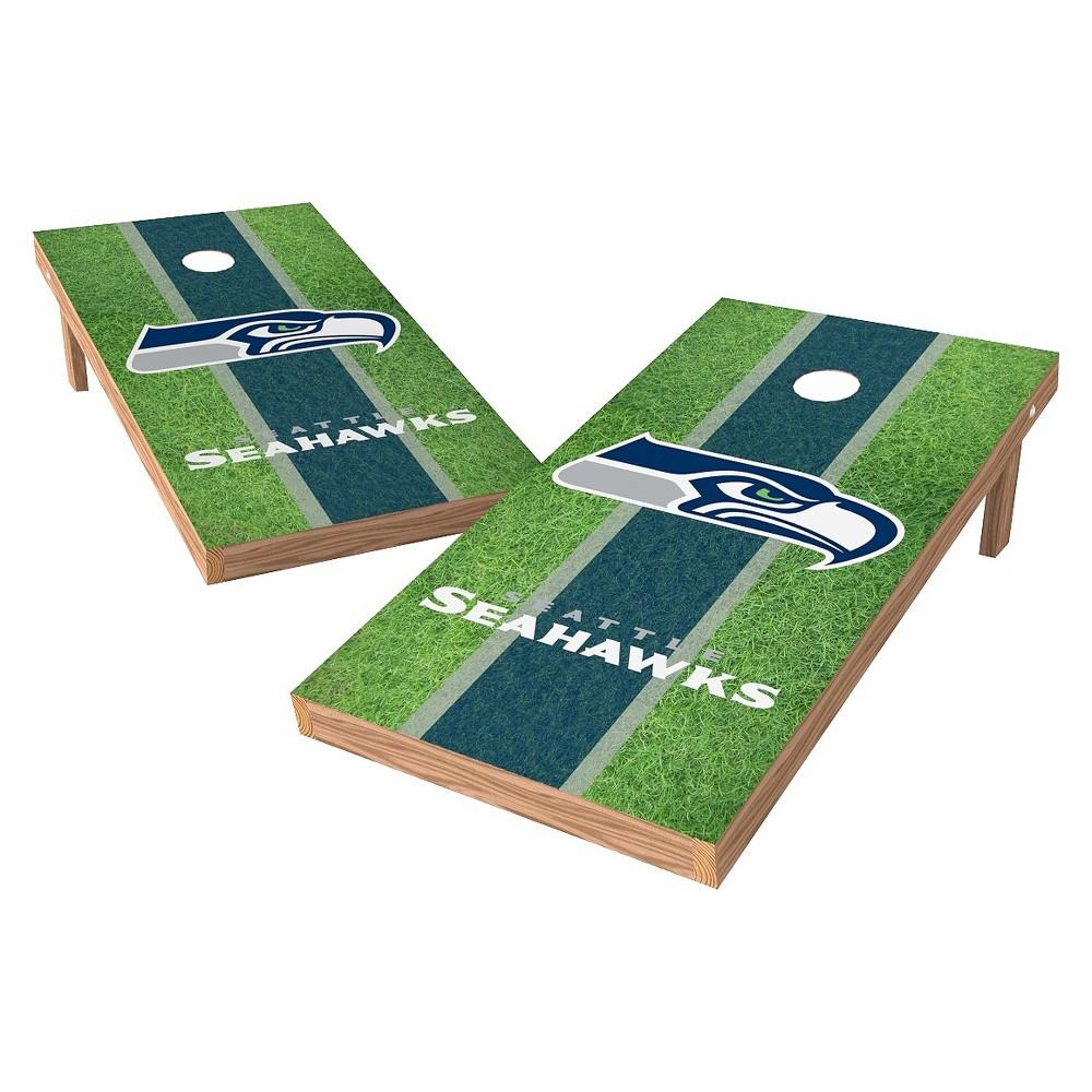 Seattle Seahawks Wild Sports XL Shield Field Cornhole Bag Toss Set - 2x4 ft.