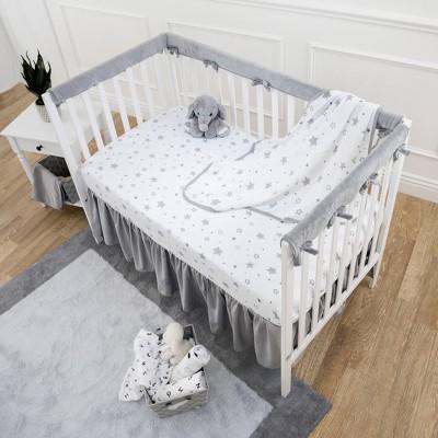 TL Care Heavenly Soft Narrow Reversible Crib Cover for Long Rail Gray/White
