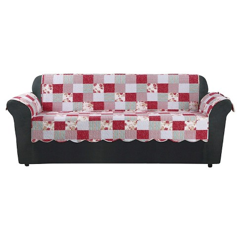 Heirloom Cottage Patchwork Sofa Furn Cover Red Sure Fit