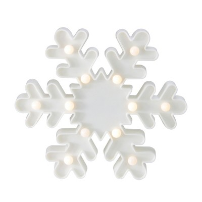 "Northlight 9.5"" Battery Operated LED Lighted Snowflake Christmas Marquee Sign - White"