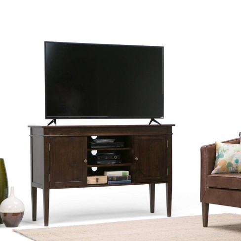 Sterling Solid Wood Tall Tv Media Stand Tobacco Brown For Tvs Up To