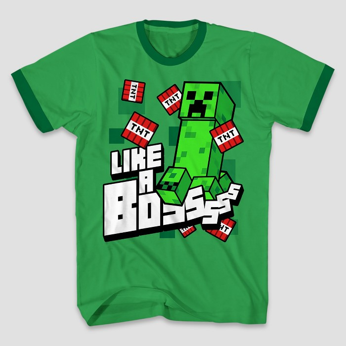 Boys' Minecraft Short Sleeve T-Shirt - Kelly Green - image 1 of 1