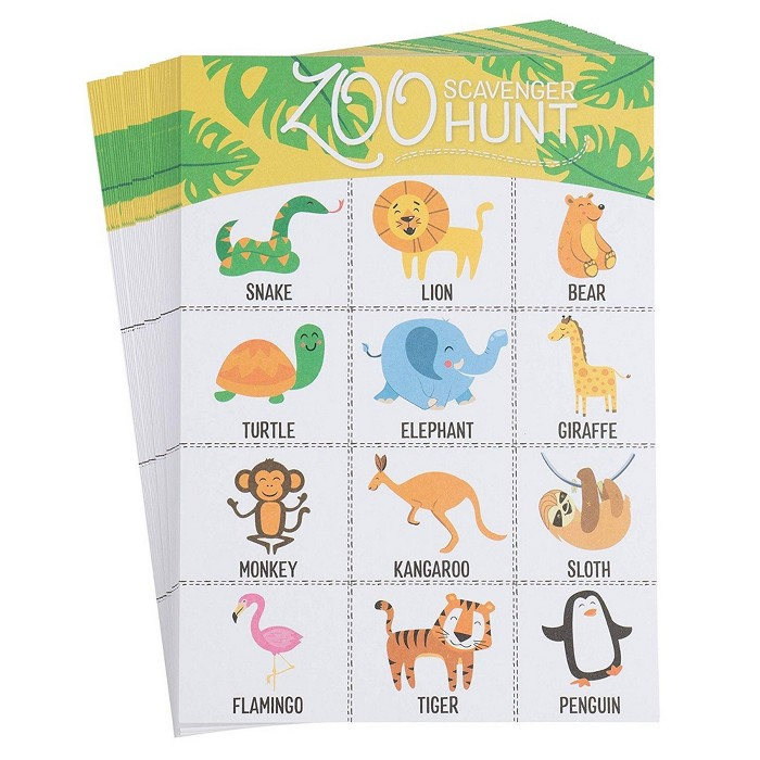 Juvale 50-Pack Zoo Scavenger Hunt Game Set For Kids Childrens Outdoor Game Spot, 16 Zoo Animal Birthday Party Favors Classroom Trips Family Activity : Target
