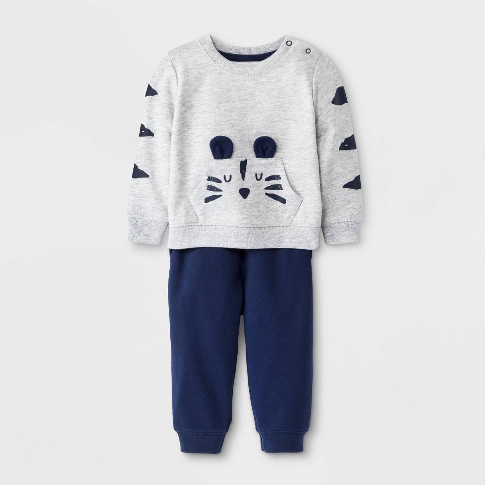 Image of Baby Boys' 2pc Top & Bottom Set - Cat & Jack Heather Gray 0-3M, Boy's, Gray/Grey
