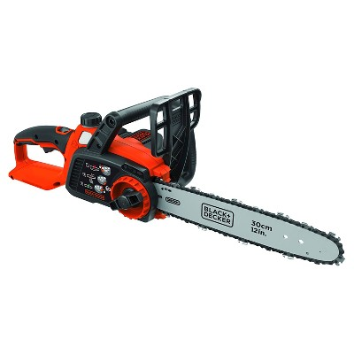 "BLACK+DECKER 40V MAX Lithium Chainsaw with 12"" Oregon Bar and Chain and Tool Free Tensioning - Orange Sorbet"