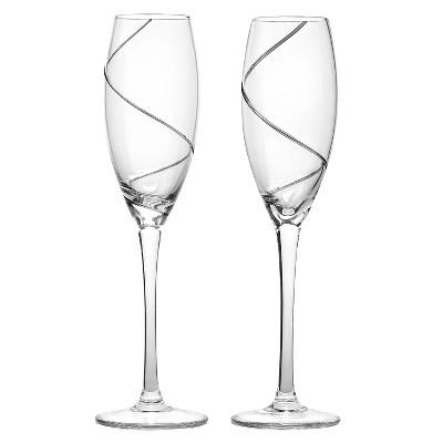 Silver Swirl Wedding Champagne Flutes