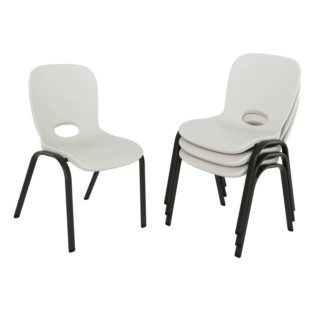 Image of 4pk Children's Commercial Stacking Chair Almond Brown - Lifetime, Beige