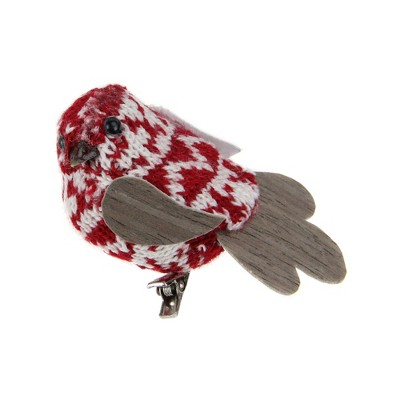 """Northlight 3.5"""" Knit Bird Clip-On Christmas Ornament - Red/White"""