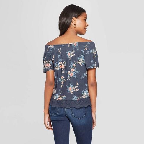65c7ec71391 Women's Floral Print Short Sleeve Off The Shoulder Knit Top With Lace Trim  - Xhilaration™ : Target