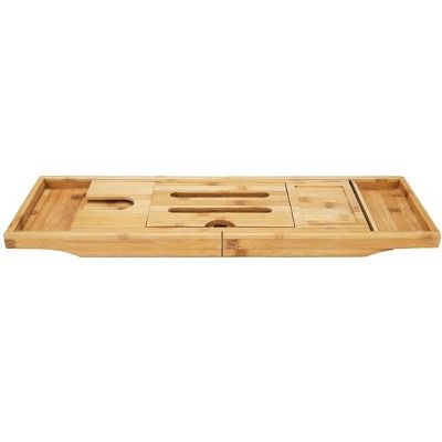 Mind Reader Premium Extendable Bamboo Bath Caddy, Bamboo