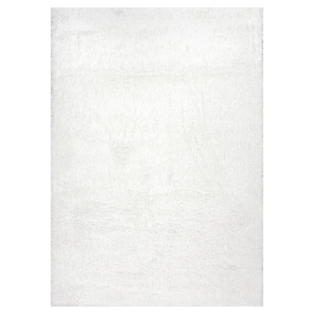 White Solid Loomed Area Rug - (8'x10') - nuLOOM, Snow White