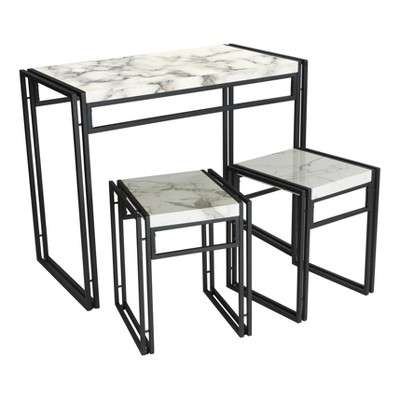 Urban Small Dining Table Set - Black with Faux Marble Top - Atlantic