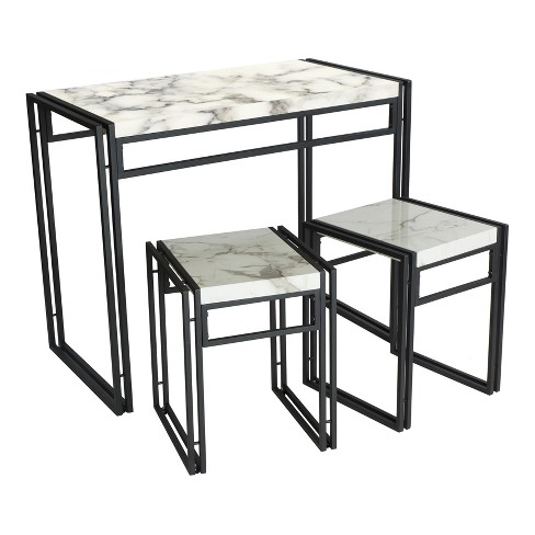 Urban Small Dining Table Set Black With Faux Marble Top Atlantic Target