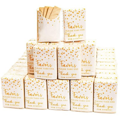 Sparkle and Bash 60 Pack Please Take One Thank You for Coming Gold Confetti Facial Pocket Travel Packs