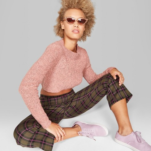 Women's Plaid Kick Flared Borrowed Pants - Wild Fable™ Olive/Pink M - image 1 of 3
