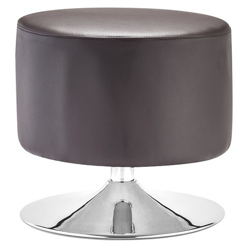 Modern Faux Leather and Chrome Ottoman - Brown - ZM Home - image 1 of 2
