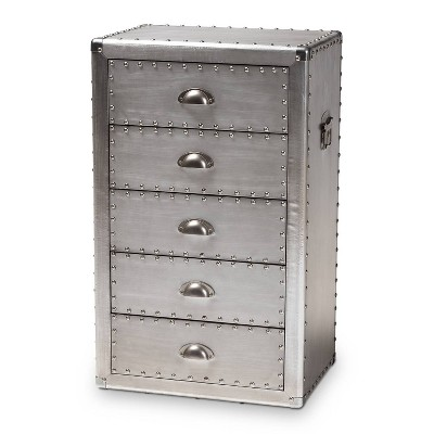 5 Drawer Davet Metal Accent Chest Silver - Baxton Studio