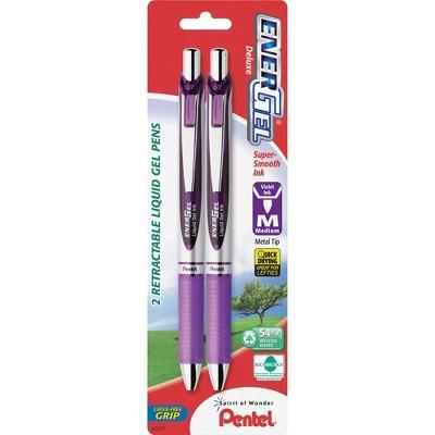 Pentel Gel Pen Retractable Metal Tip Med.Pt 2/PK Violet Barrel/Ink BL77BP2V