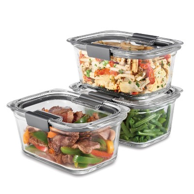 Rubbermaid 6pc Brilliance Glass Food Storage Containers, 4.7 Cup Food Containers with Lids BPA Free and Leak Proof