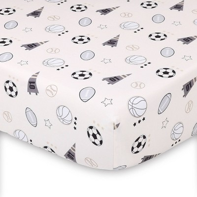 The Peanutshell Sports League Fitted Sheet Print Tossed Icons