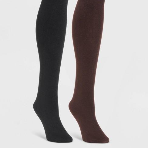 MUK LUKS Women's Fleece Lined 2pk Tights - Black/Brown - image 1 of 1