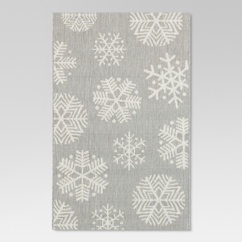 "Holiday Rectangle 30""x50"" Outdoor Rug - Gray Snowflake - Threshold™ - image 1 of 4"