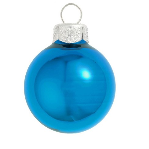 "Northlight 2ct Shiny Glass Ball Christmas Ornament Set 6"" - Wedgewood Blue"