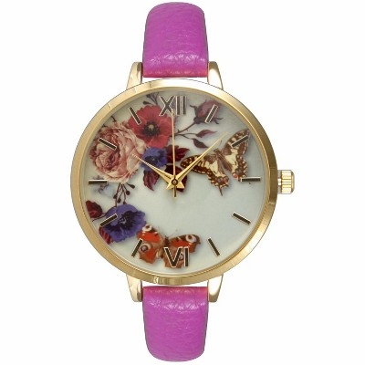 Olivia Pratt Leather Strap Fashion Watch W/ Floral Butterly Face